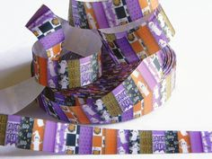 """Halloween Ribbon 5 yards of 1"""" Grosgrain Ribbon Pumpkins & Ghosts Orange Black Purple for Hair Bow Party Favor Ties Trick or Treat Bag Craft by HouseofHairDecor on Etsy"""