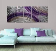 Purple wall art is funky, cute and currently trendy. You can see how popular purple home wall art décor  is on home décor shows on TV, Online and even in your own community. Additionally purple wall art is truly  charming and pretty. #purple       Abstract Purple and Silver Modern Metal Wall Art Painting Decor -