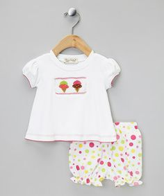 Take a look at this Pink & Green Ice Cream Tee & Bloomers - Infant by Classy Couture on #zulily today!