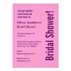Shop Modern Bridal Shower Black White Zebra Invitation created by JaclinArt. Personalize it with photos & text or purchase as is! Purple Invitations, Bridal Shower Invitations, Custom Invitations, Invitation Design, Wedding Invitation, Invite, Cobalt Blue Weddings, Black White Pink, Pink Purple