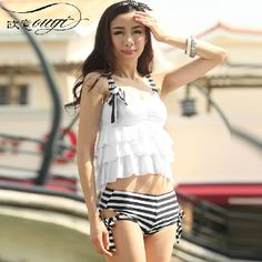 Free shipping 2014 new fashion Cake style female split swimwear push up girl pieces swimsuit hot spring sexy woman bathing suit-inTankinis Set from Apparel & Accessories on Aliexpress.com