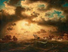 "Marcus Larson (Swedish, 1825-1864), ""Skeppsbrott under glödande himmel/Shipwreck under glowing sky"" (1860)"