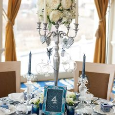 We've long had in mind to use our Winter Fairytale collection in a styled shoot… Wedding Decorations, Table Decorations, Candelabra, Event Design, Wedding Designs, Fairytale, Pastel, Hand Painted, Navy