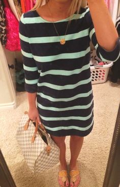 Navy & Aqua striped shift dress, gold monogram necklace and yellow Jack Rogers sandals
