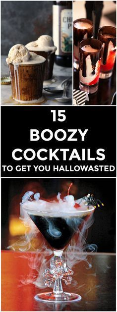 #Halloween Cocktails and shots including the Zombie Brain Hemorrhage Shot, Candy Corn Martini, and Witches Brew.