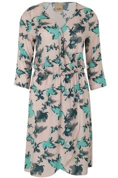 ICHI Beatrixi dress in the colour rose smoke. A gorgeous 3/4 sleeve dress, in a dusky pink and green floral print, elasticated waist, V neckline and wrap style skirt. Floral Wrap Dress by ICHI. Clothing - Dresses - Floral London