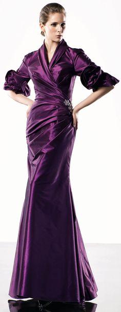 #Half sleeve floor-length deep plum colored gown. How exquisitely beautiful!! http://wp.me/p291tj-dG