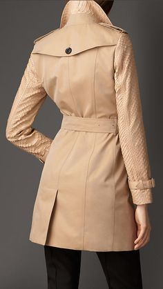 Mid-length Gabardine Trench Coat with Python Sleeves   Burberry London