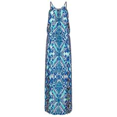 Hale Bob Sleeveless Printed Maxi Dress ($370) ❤ liked on Polyvore featuring dresses, long beach dresses, blue summer dress, beach dresses, sleeveless dress and long summer dresses