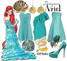 Outfits inspired by Disney characters.I happen love the blue-green hues here. And The Little Mermaid was my favorite Disney movie as a kid! Disney Princess Outfits, Disney Dresses, Disney Outfits, Cute Outfits, Princess Fashion, Disney Princesses, Disney Clothes, Disney Couture, Disney Mode