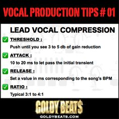 VOCAL PRODUCTION TIPS #1 - How To Set A Compressor For Lead Vocal