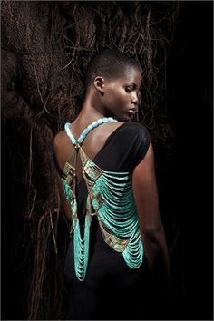 www.cewax.fr love this statement necklace ethno tendance, style ethnique, #Africanfashion, #ethnicjewelry - CéWax aussi fait des bijoux : http://www.alittlemarket.com/collier/fr_collier_plastron_multi_rang_ethnique_en_tissu_africain_beige_prune_jaune_-15921837.html - Vanity Fair 'La Mia AFRICA' Jewelry by Anita Quansah