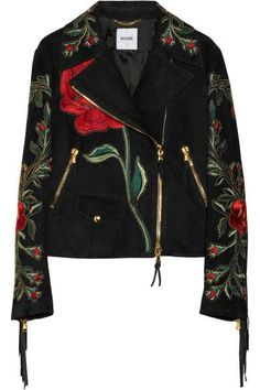 Moschino Fringed Embroidered Suede Biker Jacket