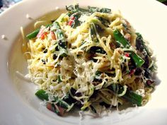 Angel Hair with Rainbow Chard, Green Beans, Mushrooms, and Sicilian Pecorino (Capelli d'Angelo Con chard, fagiolini, funghi e pecorino Siciliano)