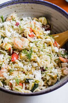 Mediterranean Roasted Shrimp and Vegetable Orzo Salad