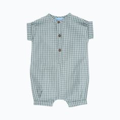 Organic Cotton Baby Suit - Sage Checks - 3-24m