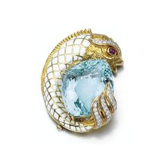 Aquamarine, ruby and diamond booch, David Webb