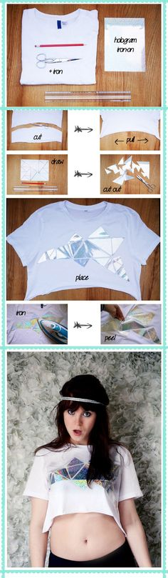 Kill two trends with one stone: crop tops and holograms. | 47 DIYs For The Cash-Strapped Music Festival-Goer