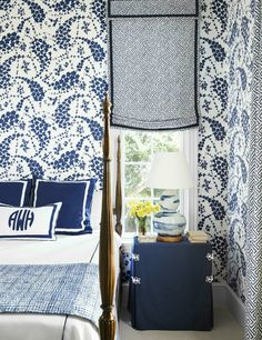 Quadrille wallpaper and monogrammed pillow.