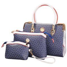 Amazon.com: Deluxe Women 3 Piece Tote Bag Pu Leather Handbag Purse Bags Set (Gold): Clothing