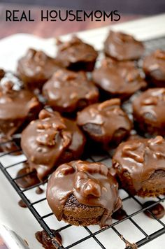 The same recipe as the full sized cake, only baked in little bite size morsels...and with the same fudgey frosting with nuts on top!!