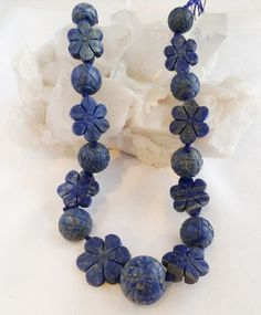 Carved Large Lapis Lazuli Gemstone Beads - Rare