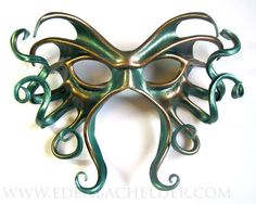 I keep finding little gems @Trinity Lourdes -Large Cthulhu leather mask, hand-painted in metallic green and copper