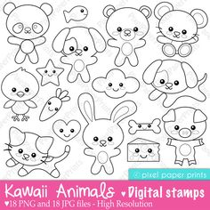 Kawaii animals Digital Stamps by pixelpaperprints on Etsy