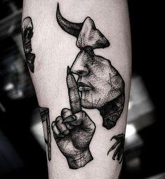 Devil Tattoo, Dark Tattoo, Big Tattoo, Tattoo Arm, Club Tattoo, Black Ink Tattoos, Body Art Tattoos, Small Tattoos, Creepy Tattoos