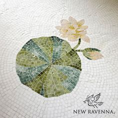 This custom Lily Pad mosaic floor is shown in Thassos, Spring Green, Chartreuse, Verde Luna, Rosa Portagallo, Crema Valencia, Sylvia Gold and Persian Gold.  Copyright New Ravenna ®