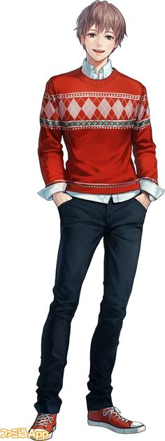 Handsome anime guy why can't boy look like this? Lol anyway love the sweater on this anime person!.