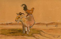 "Cock and sheep ram farm hen chicken wildlife color animal 10x6"" 25x16 cm art original Watercolor painting by Juan bosco"