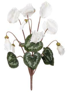 """Cyclamen Faux Flowers Bush in White 16"""" Tall"""