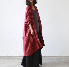 Women winter loose hooded cardigan cotton linen overcoat | Buykud