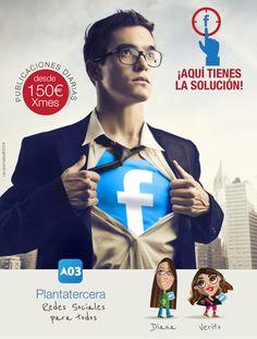 redes sociales para todos.  Plantatercera, social media, redes sociales Castellón, Valencia. Wicked, Valencia, Creative, Movie Posters, Movies, Fictional Characters, Socialism, Social Networks, Creativity