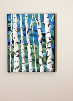 "WHITE BIRCH TREE Original Acrylic Painting 8"" x 10"" Wrapped Canvas"