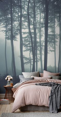 Discover calming interior design with a moody forest wallpaper. Featuring a sea of trees in deep misty hues, this wallpaper can transform any room into a serene hideaway. Display on a tall wall to feel the maximum impact of this mysterious mural. Tree Wallpaper Bedroom, Forest Wallpaper, Home Wallpaper, Wallpaper Murals, Plant Wallpaper, Feature Wallpaper, Couple Wallpaper, Feature Wall Bedroom