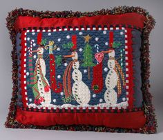 Amy's Golden Strand ...Robin King stitched this Melissa Shirley snowman needlepoint canvas canvas