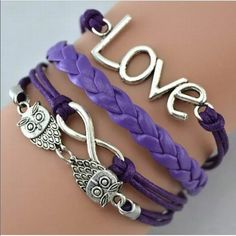 Owl purple love infinity bracelet leather silver Infinity bracelet bundle with another 2/$12  color of bracelets may look a slightly different shade than photo. Sometimes it is hard to get the actual color. Jewelry Bracelets