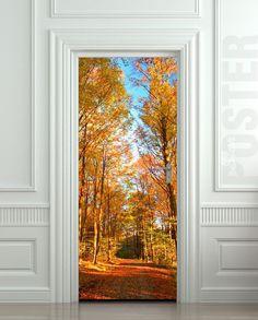 """Carretera ETIQUETA Puerta paisaje estacional otoño otoño Película decole mural autoadhesiva 30x79 cartel """"(77x200 cm) /"""