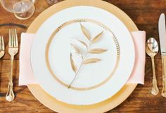 REVEL: Wood + Gold Place Setting