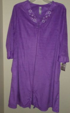 White Stag #Robe Full Zip #HouseCoat Purple Fleece Snowflake #PlusSize 3x 22/24w #WhiteStag #Sleepwear