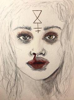 Āhni Atlas #surreal #surrealportrait #portrait #goddess #hecate #gold #illustration #face #eyes #goldleaf #painting #charcoal #drawing #surrealism #art #fineart #artist #gaze #woman #androgynous