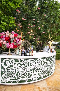 wedding reception backyard wedding curved white bar with greenery pink flowers cocktail hour Tent Reception, Outdoor Ceremony, Reception Decorations, Wedding Reception, Decoration Buffet, Backyard Bar, Wedding Backyard, Backyard Ideas, White Bar
