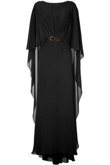 Women's Black Belted Cape Back Silk Georgette Gown