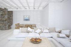 Escape to tropical luxury in Mykonos Living Room Plan, Living Room White, Living Room Designs, Villa Design, House Design, Conception Villa, Home Interior, Interior Design, Mykonos Villas