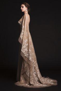 krikor jabotian bridal spring 2015 sheer nude tulle wedding dress cape sleeves train side view (my favorite Elegant Dresses, Pretty Dresses, Formal Dresses, 2015 Dresses, Prom Dresses, Beautiful Gowns, Beautiful Outfits, Couture Wedding Gowns, Dream Dress