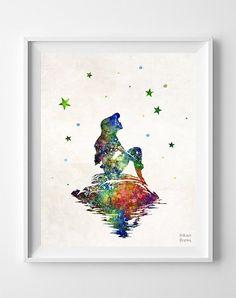 Little Mermaid on the Rock, Ariel, Disney Print, Watercolor, Poster, Christmas ornaments, Illustration Art, Wall, Kid Room, Nursery