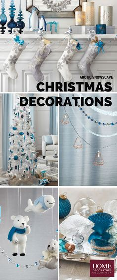 Glam meet whimsical. Christmas decorations just got way better. Our Martha Stewart Living™ Arctic Snowscape Collection brings icy blue and white, frosted details and whimsical characters together to create Christmas décor that's wintery yet inviting. Deck your mantel in snowflake-decorated stockings, choose jeweled garland and opt for polar bear ornaments. Enjoy the holidays and staying indoors with a stylish holiday collection like this. Available at Home Decorators Collection.