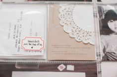 kraft paper and doily journal card, easy label with rubber stamp